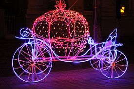 picture of cinderella  - beautiful shine light Cinderella carriage decoration on the street - JPG