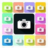 stock photo of megapixel  - Camera Icon color set vector illustration  - JPG