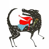 picture of little red riding hood  - Red Riding Hood in blue dress on the back of a terrible wolf - JPG