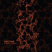 stock photo of cybernetics  - Vector element of orange abstract cybernetic particles on black background - JPG
