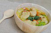 image of thai cuisine  - Green curry fish balls is Thai cuisine - JPG