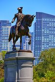 foto of washington monument  - Boston Common George Washington monument at Massachusetts USA - JPG