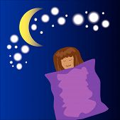 picture of moon stars  - sleeping girl cartoon with moon and star background - JPG