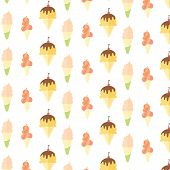 picture of popsicle  - Ice cream and popsicle seamless pattern on white background - JPG