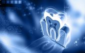 image of cross-section  - Digital illustration of  teeth cross section   in  colour  background - JPG