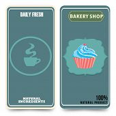 stock photo of cupcakes  - menu template with cupcake vector illustration cupcake dessert - JPG
