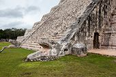 image of stairway  - Serpent head stairway in El Castillo Pyramid Chichen Itza Mexico - JPG