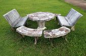pic of stool  - Marble stool set on the fresh grass - JPG