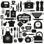 foto of backround  - Kitchen icons set of tools - JPG