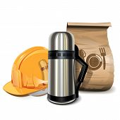 image of thermos  - Lunch Break Concept with helmet - JPG