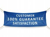 image of 100 percent  - customer satisfaction 100 percent guarantee banner isolated over white background - JPG