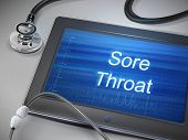 pic of pharyngitis  - sore throat words displayed on tablet with stethoscope over table - JPG