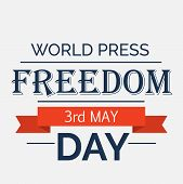 image of freedom speech  - illustration of a colorful stylish text for with red ribbon for World Press Freedom Day - JPG