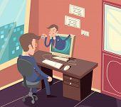 picture of visitation  - Vintage Retro Businessman Agent Online Visit Customer Icon on Stylish Office Room Background Cartoon Design Vector Illustration - JPG