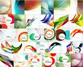 stock photo of circle shaped  - Mega set of wave abstract backgrounds  - JPG