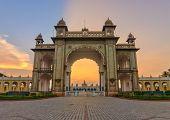 foto of india gate  - sunset at gate of Mysore Palace India - JPG