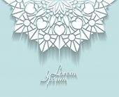 stock photo of gamma  - Abstract lace design with half of decorative mandala with copyspace in popular aquamarine gamma - JPG