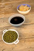 stock photo of bean sprouts  - Soy beans sprouts and sauce Asian cuisine ingredients  - JPG