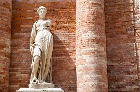 stock photo of vicenza  - One of the the two statues on the right side of the Palazzo del Capitaniato in Lords Square Vicenza - JPG