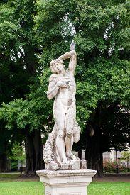 picture of vicenza  - Ornamental white stone statue inside the Giardini Salvi in Vicenza - JPG