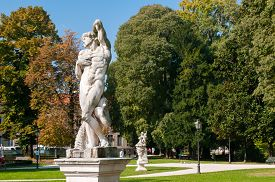 foto of vicenza  - Ornamental white stone statue inside the Giardini Salvi in Vicenza - JPG