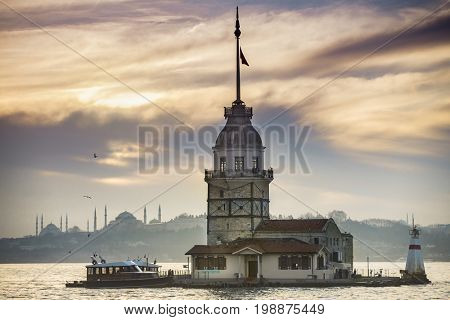 poster of Maiden's Tower before sunset in Istanbul Turkey