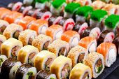 Japanese Food, Sushi Restaurant. Great Assortment Of Tasty Multi poster