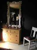 picture of console-mirror  - photograph of a part of a very classy bedroom design - JPG
