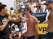 HERMOSA BEACH, CA. - AUGUST 9: Phil Dalhausser (R) and Todd Rogers (L) being interviewed after winni