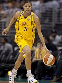 LOS ANGELES, CA. - SEPTEMBER 16: Candace Parker dribbling the ball up court during the WNBA playoff
