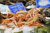 picture of norway lobster  - Langoustines on a market stall - JPG
