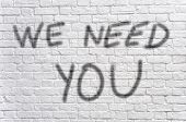 stock photo of arriere-plan  - We need you graffiti - JPG