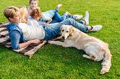 Happy Young Family With Golden Retriever Dog Resting On Grass At Picnic poster