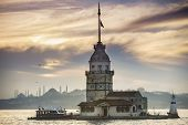 Maidens Tower before sunset in Istanbul Turkey poster