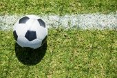 Higha angle view soccer ball on field poster