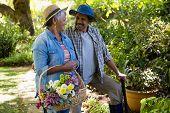 Senior couple walking in garden with flower basket  poster