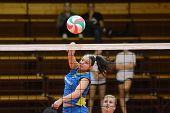 KAPOSVAR, HUNGARY - NOVEMBER 14: Barbara Balajcza strikes the ball at the Hungarian NB I. League wom