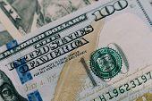 Dollars Closeup Concept. American Dollars Cash Money. One Hundred Dollar Banknotes. poster