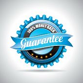 Vector  Guarantee Labels Illustration With Shiny Styled Design On A Clear Background. Eps 10. poster