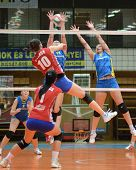 KAPOSVAR, HUNGARY - FEBRUARY 4: Barbara Balajcza (R) blocks the ball at the Hungarian NB I. League w