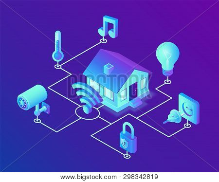 poster of Smart Home System Concept. 3d Isometric Remote House Control System. Iot Concept. Smart Home Connect