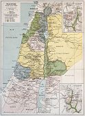 stock photo of jericho  - Palestine tribes old map with Jerusalem insert maps - JPG