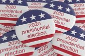 Usa Politics Election News Badges: Pile Of 2020 Presidential Election Buttons With Us Flag, 3d Illus poster