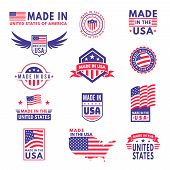 Made In Usa. Flag Made America American States Flags Product Badge Quality Patriotic Labels Emblem S poster