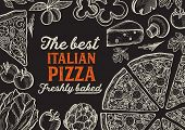 Pizza Illustration For Restaurant On Vintage Background. Vector Hand Drawn Poster For Food Cafe And  poster