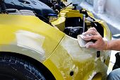 Garage Car Body Work Car Auto Car Repair Car Paint After The Accident During The Spraying Automotive poster