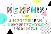 Memphis Font And Alphabet. Vector Type With Colorful Abstract Letters And Numbers poster