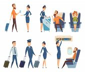 Airplane Passengers. Stewardess In Uniform Boarding Airplane Safety Vector Cartoon Characters. Illus poster