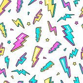 Thunderbolt Pattern. Sky Lightning Warning Voltage Symbols Electricity Flash Vector Seamless Backgro poster