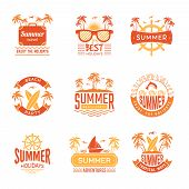 Summer Badges. Travel Labels And Logos Palm Tree Drinks Sun Vacation Tropical Vector Symbols. Illust poster